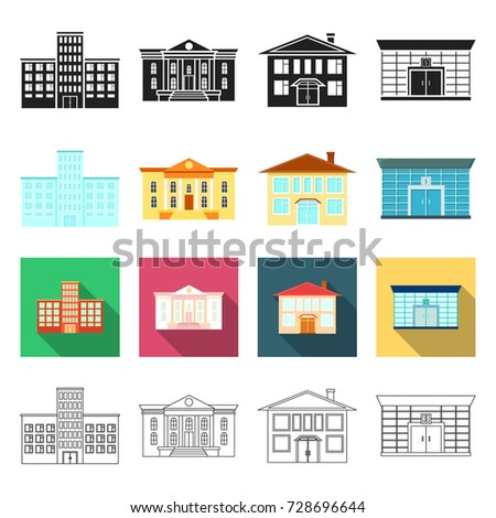 salon, architecture, industry and other web icon in different style.apartment, shop, cafe, icons in set collection.