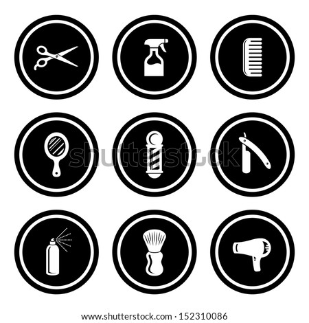Salon & Barber Shop Circle Icon Set