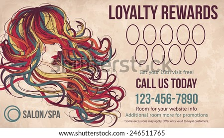 Salon customer loyalty card showing beautiful woman with long colorful hair