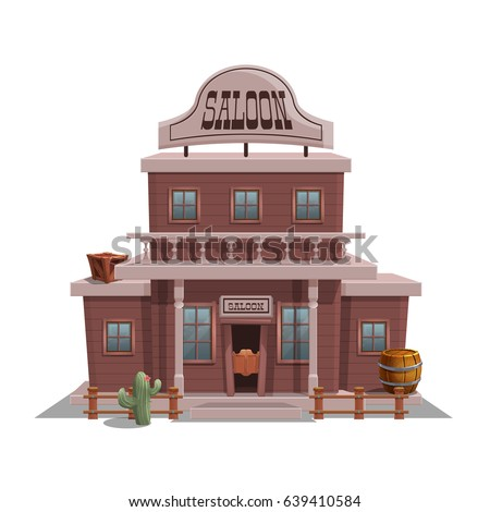 Saloon for western town for game level and background isolated on white background. Building design - wild west. Vector illustration.