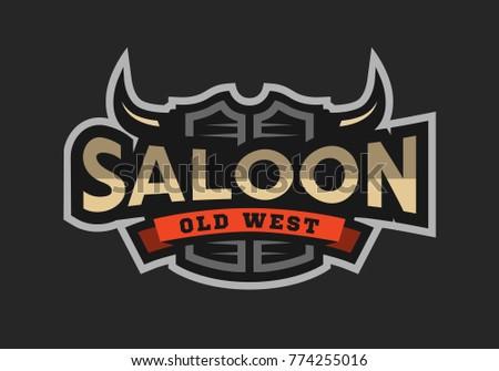 Saloon, tavern, wild west logo, emblem on a dark background.