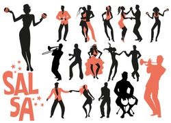 Salsa dance clipart collection. Set of latin music dancers and musician isolated on white background.