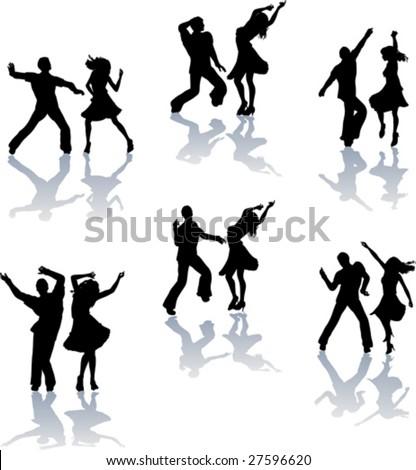 Salsa Dance Silhouettes