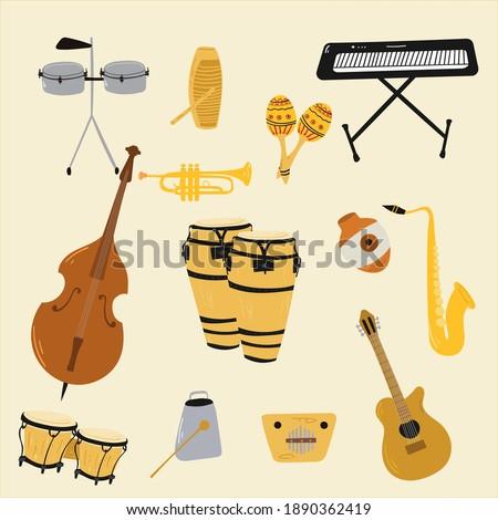 Salsa music musical instruments. Double bass, congas, bongos, guitar, cuban tres, clave, Botijuela, maracas, piano, contrabass, timbales, guiro, trombone, trumpet Zdjęcia stock ©