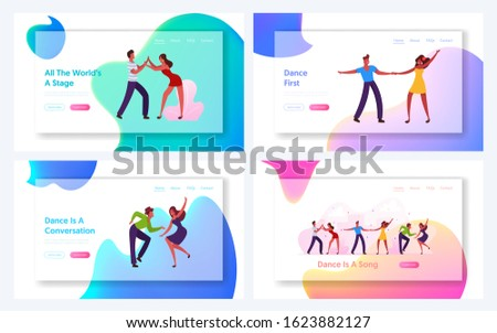 Salsa or Samba Brazil Dance Recreation Spare Time Website Landing Page Set. Friends in Fashioned Clothing Celebrating Holiday, Spending Time Together Web Page Banner. Cartoon Flat Vector Illustration