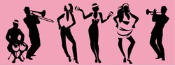 Salsa Party Time. Group of three girls dancing latin music and three musician playing bongos, trumpet and trombone.
