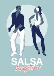 Salsa Party Time. Young couple dancing latin music: salsa, merengue, mambo, bachata