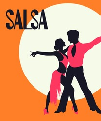 Salsa Poster. Elegant couple dancing salsa. Retro style