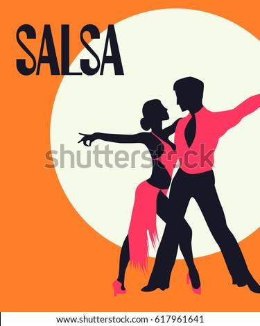 Salsa Poster. Elegant couple dancing salsa. Retro style Stock photo ©