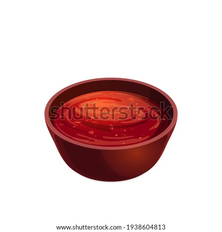Salsa tomato ketchup in bowl, plate with red paste isolated icon. Vector plate with tomato hot chili spicy snack. Sauce-boat portion, bbq catchup. Food condiment, seasoning, sour sweet sauce on plate Photo stock ©