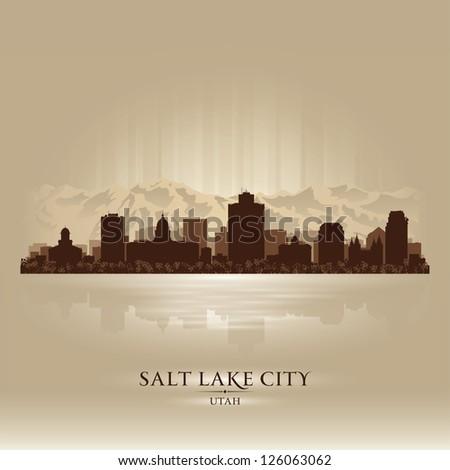 Salt Lake City, Utah skyline city silhouette - stock vector