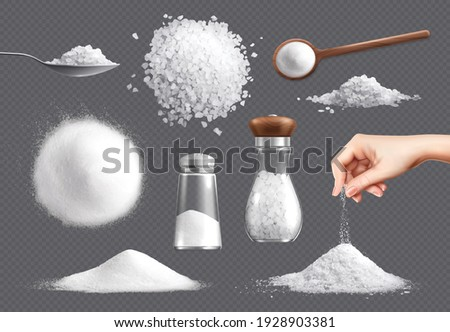 Salt realistic set of isolated icons piles of edible salt of different fracture with salt cellars vector illustration
