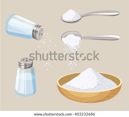 Shutterstock Salt set: shaker, spoon and bowl. Do pour. Baking and cooking ingredient. Cartoon vector food seasoning. Kitchen utensils
