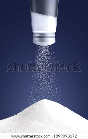 Salt vertical composition with realistic image of salt cellar turned upside down with pouring salt particles vector illustration Foto d'archivio ©