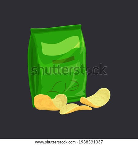 Salted potato chips in green pack isolated crispy chips package. Vector sliced potatoes, fastfood snack, movie cinema food. Spicy crispy and crunchy potato chips, heap of unhealthy crisps and packing Foto stock ©