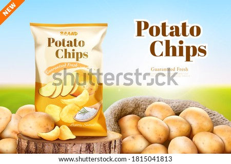 Salty flavoured potato chips advertisement in 3d illustration, Potato chips package over a wood log with a sack full of fresh potatoes