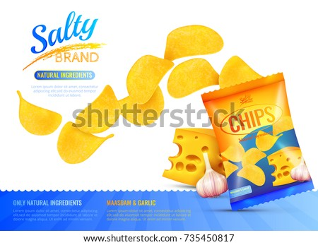 Salty snacks poster with branded product package realistic images of chips cheese and garlic with editable text vector illustration