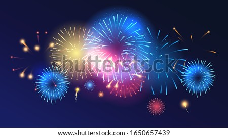 Salute explosion festive vector background. Realistic fireworks burst, gradient light glowing effect isolated on dark blue. Horizontal backdrop with bright multicolor firecrackers. Illuminated 2d bang