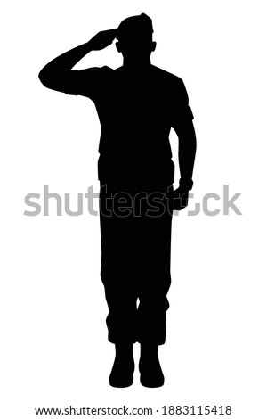 Saluting soldier silhouette vector, military man concept. Stock photo ©