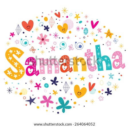 samantha girls name decorative