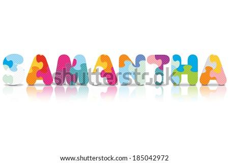 samantha written with alphabet