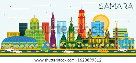 Samara Russia City Skyline with Color Buildings and Blue Sky. Vector Illustration. Business Travel and Tourism Concept with Modern Architecture. Samara Cityscape with Landmarks.