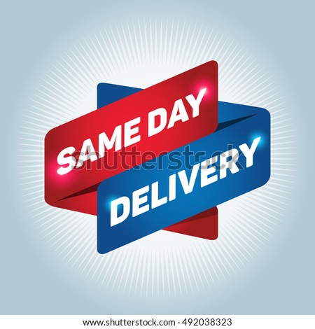 SAME DAY DELIVERY arrow tag sign.