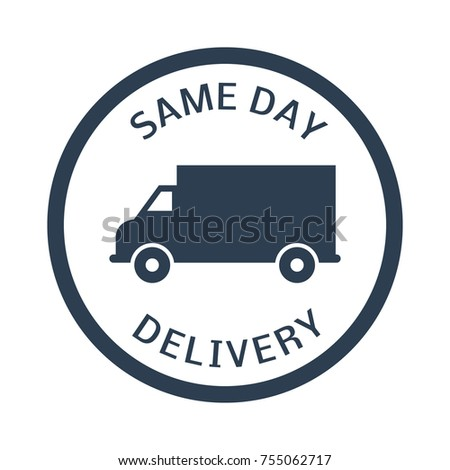 same day delivery button on white background. Vector illustration