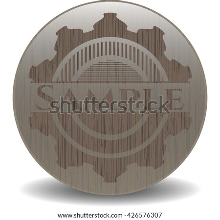 Sample badge with wood background