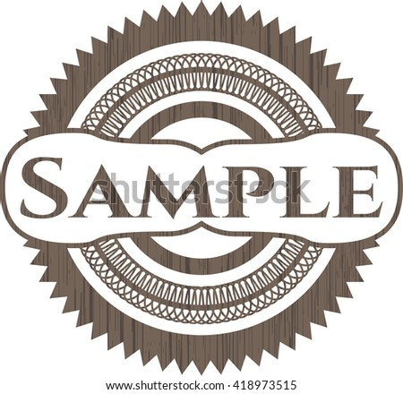 Sample badge with wooden background