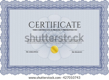 Sample Certificate. Artistry design. Vector pattern that is used in money and certificate. With quality background. Blue color.
