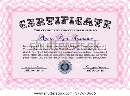 Sample Certificate. Frame certificate template Vector. With linear background. Modern design. Pink color.