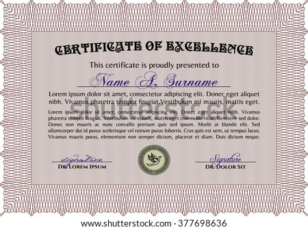 Sample Certificate. Frame certificate template Vector. With linear background. Modern design. Red color.