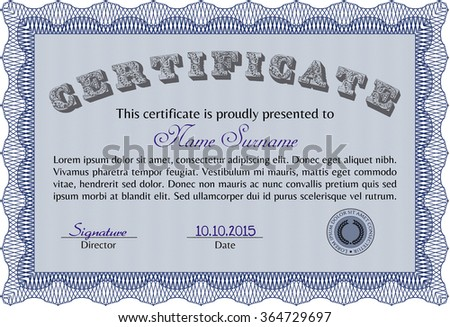 Sample Certificate. Lovely design. Vector pattern that is used in money and certificate.With linear background.