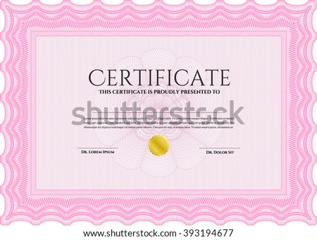 Sample Certificate. Modern design. With linear background. Frame certificate template Vector. Pink color.