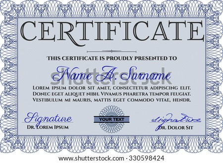 Sample certificate or diploma. Modern design. Complex background. Vector certificate template.