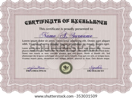 Sample certificate or diploma. Money style.Nice design. With linear background.