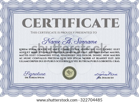 Sample certificate or diploma. With complex background. Border, frame.Cordial design.