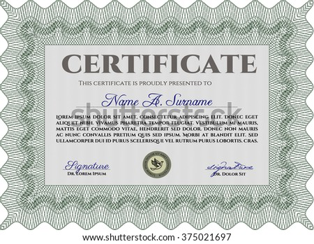 Sample certificate or diploma. With complex linear background. Vector certificate template. Elegant design. Green color.