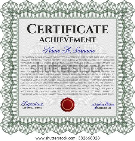 Sample certificate or diploma. With complex linear background. Vector certificate template. Retro design. Green color.