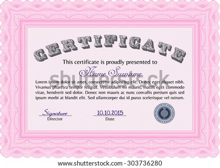 Sample Certificate. Superior design. Detailed.With complex linear background.