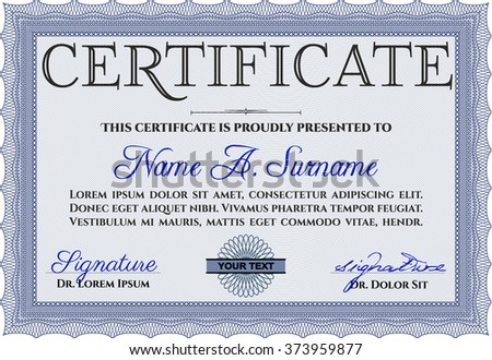 Sample Certificate. With linear background. Frame certificate template Vector. Modern design. Blue color.