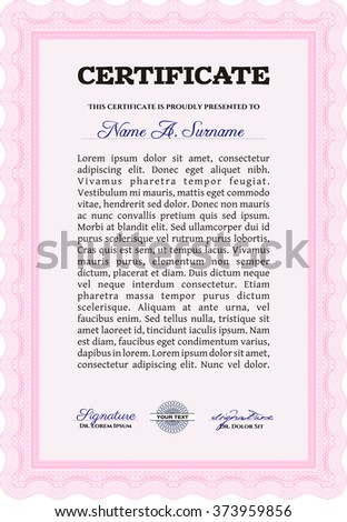 Sample Certificate. With linear background. Frame certificate template Vector. Modern design. Pink color.