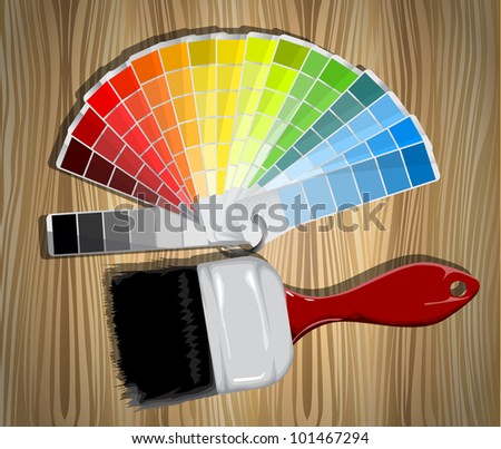 Sample color palette and paint brush eps10
