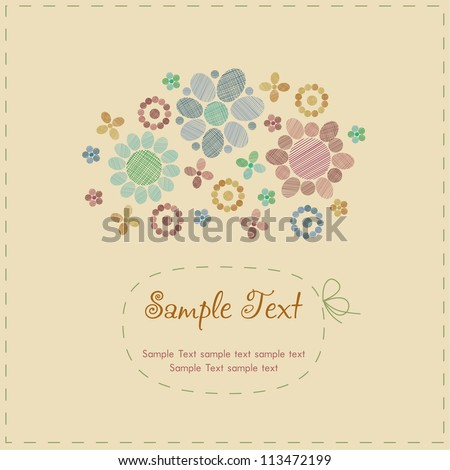 Sample cute romantic vintage greeting card with stylized flowers, round decorative elements and place for your text. Template with text frame for design and decoration