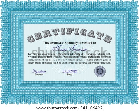 Sample Diploma. Artistry design. Border, frame.With complex linear background.