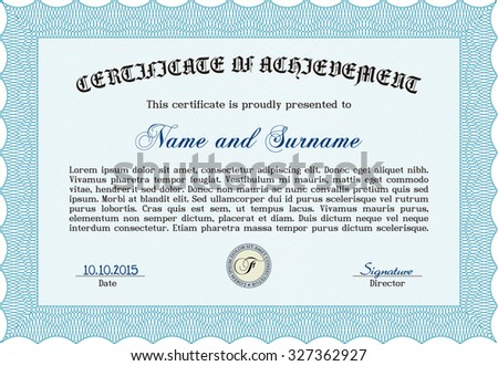 Sample Diploma. Artistry design. With great quality guilloche pattern. Vector pattern that is used in money and certificate.