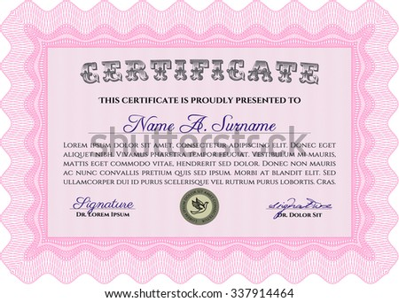 Sample Diploma. Complex background. Complex design. Vector pattern that is used in currency and diplomas.