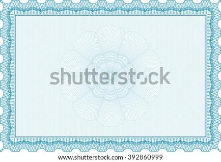 Sample Diploma. Frame certificate template Vector. Elegant design. With linear background. Light blue color.