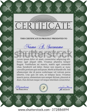 Sample Diploma. Frame certificate template Vector. With linear background. Elegant design. Green color.